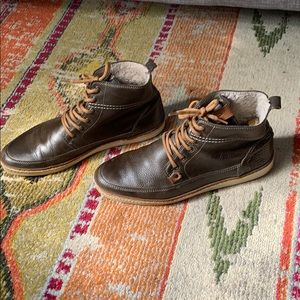 Aldo M10 Brown Leather Sneaker Boot faux fur lined